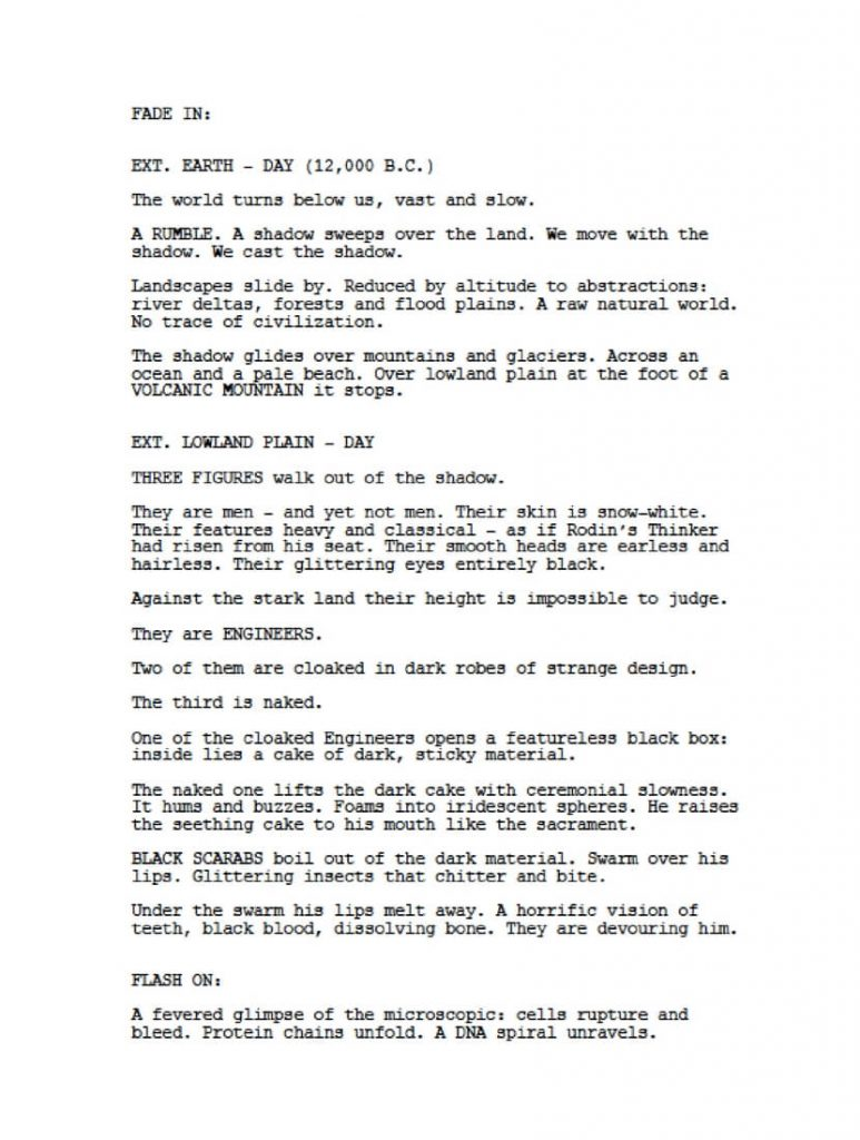 screenplay page Spaihts